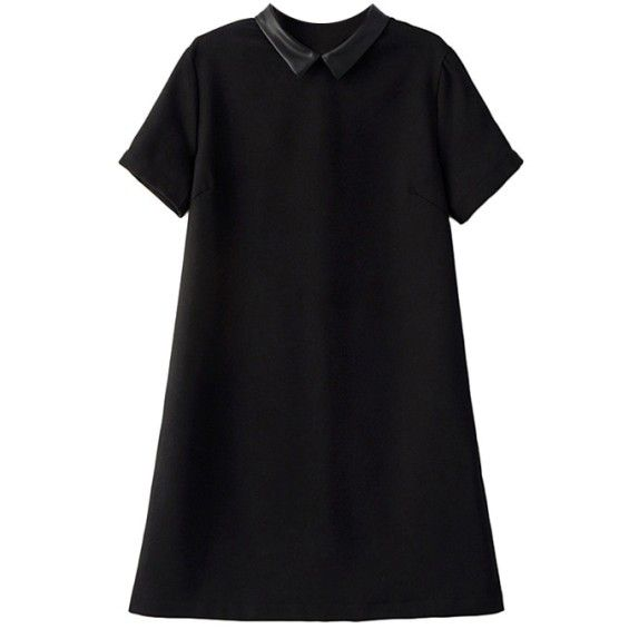 Dress With Faux Leather Collar