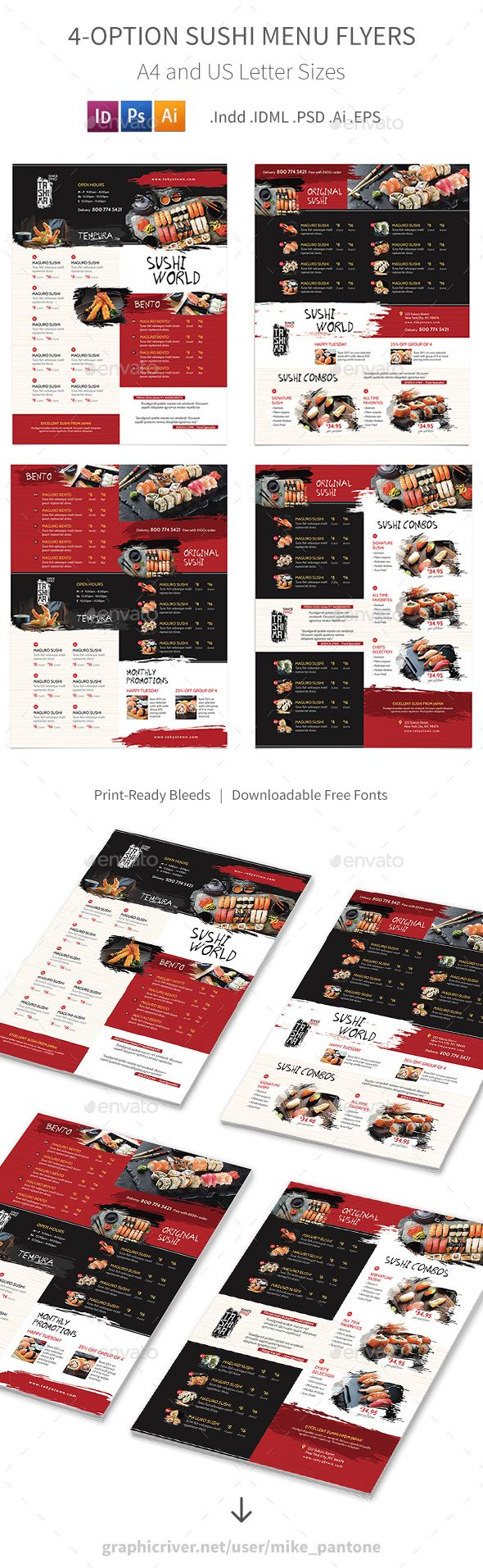 Sushi Restaurant Menu Flyers 3 ¨C 4 Options Clean and modern menu flyers for your sushi, Japanese restaurant business.Features: 8.5