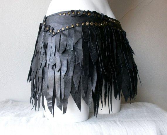 Dream Warriors black leather slashed fringe tassel wrap/bustle mini skirt. Post apocalyptic tribal fusion bellydance punk rock goth fashion