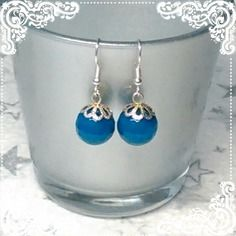Boucles d'oreille en agate bleue (ge-01)