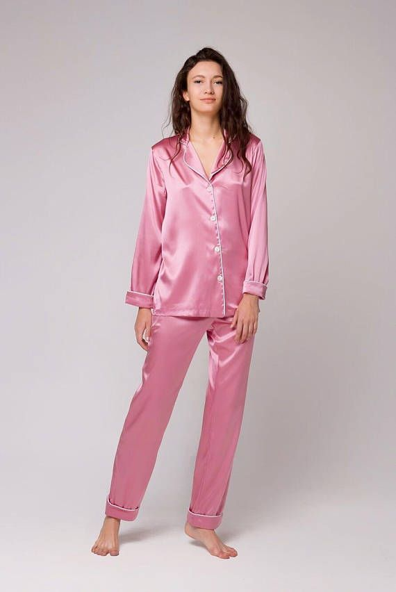 Silk pajamas Silk pajama pink Silk pyjamas Silk set Silk  155b99ab8