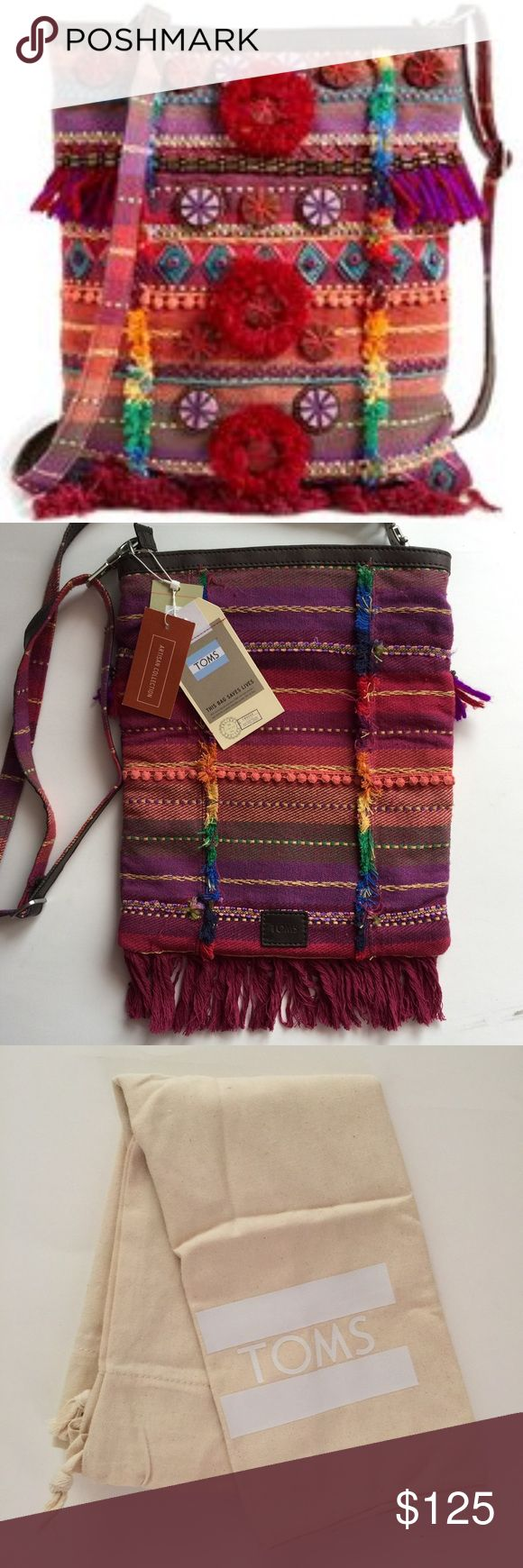 """TOMS Embellished Festival Cross-body Bag NWT rare with embroidery and tassels. Bohemian free spirited bag. Detach strap and fold in half for a clutch! Zippered closure with interior zippered pocket and two other small pockets. 9"""" x 12.5"""". TOMS Bags Crossbody Bags"""