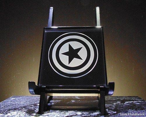 Avengers Inspired Captain America Glass Black Wall Tile Sign / Coaster