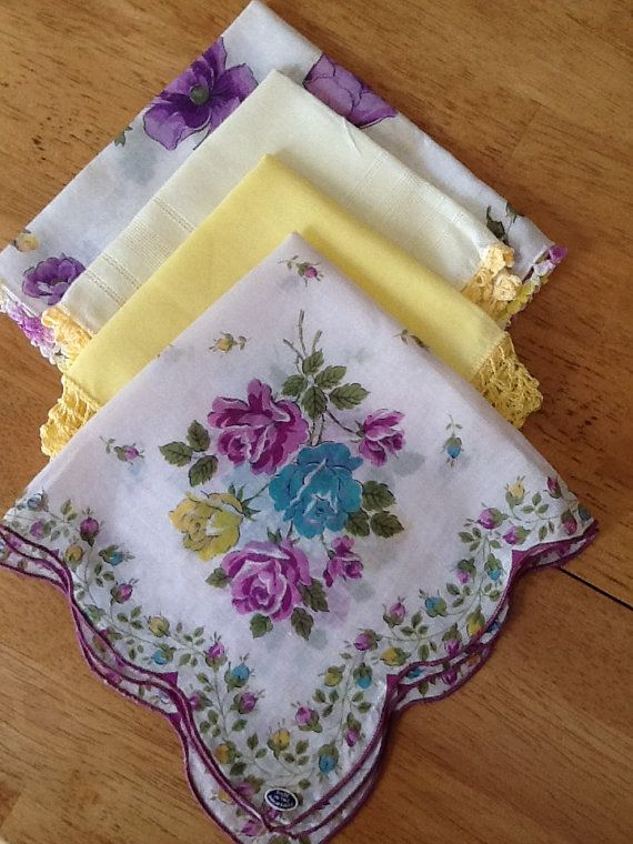 Vintage Linen Hand Crocheted Ladies Handkerchiefs Lot by QuiltsETC, $18.99