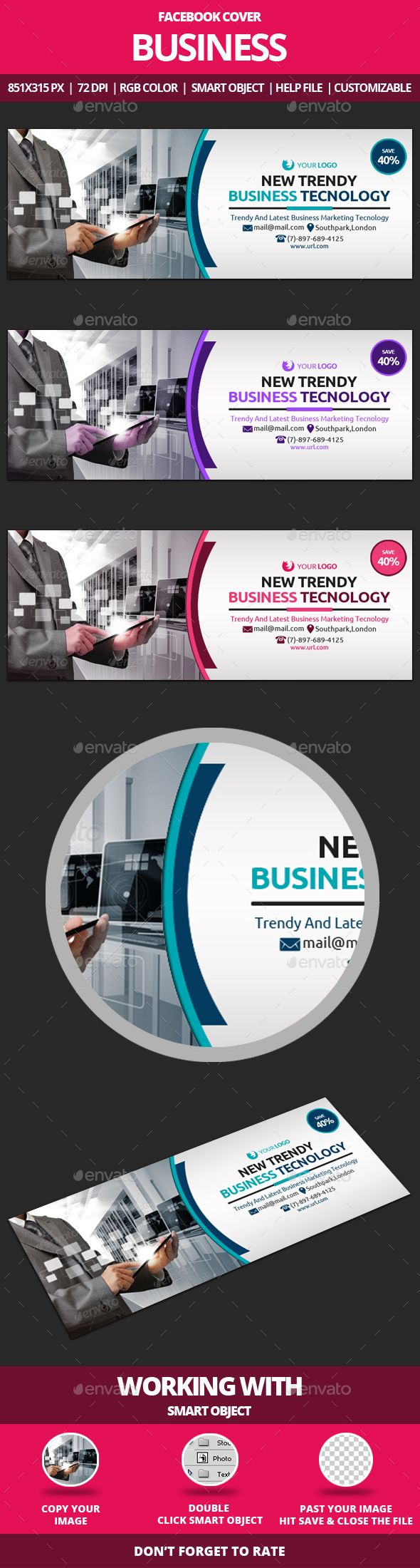 Business Facebook Cover Template PSD #design Download: http://graphicriver.net/item/business-facebook-cover/13918004?ref=ksioks