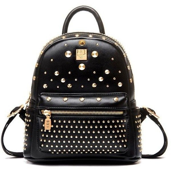 PUNK STYLE STUDDED BACKPACK ($46) ❤ liked on Polyvore featuring bags, backpacks, rucksack bags, punk backpack, studded backpack, punk rock backpacks and backpack bags