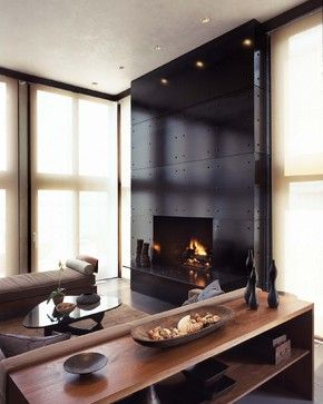 House on Belle Island - modern - living room - new york - Beinfield Architecture PC - Fireplace Ideas