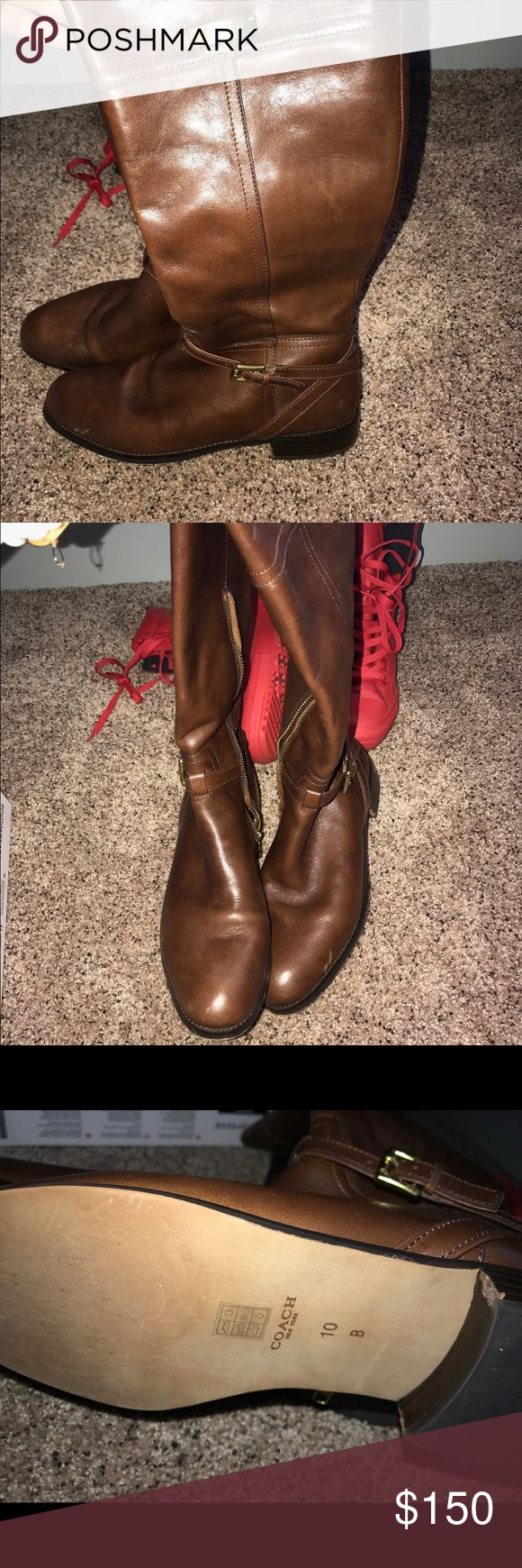 COACH boots brown coach boots worn once Coach Shoes Heeled Boots