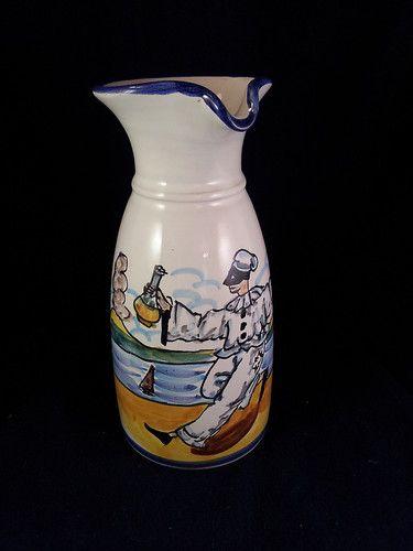 Cer Govanni Vietri Italian Art Pottery Wine Carafe Pitcher Mediterranean Scene | eBay