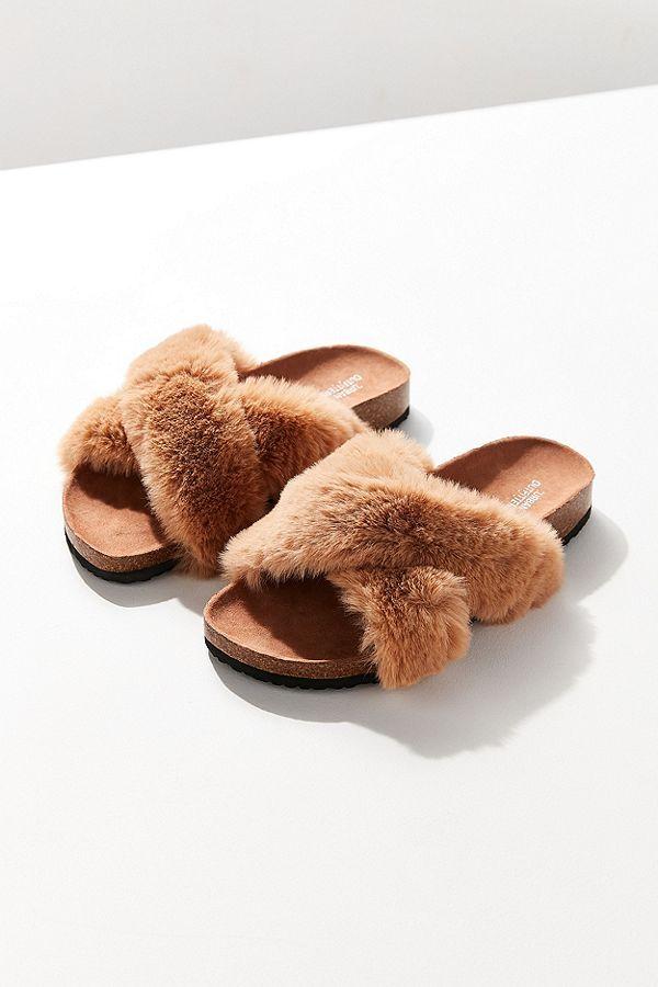 2dfe98671a58 Crossed Faux Fur Slide