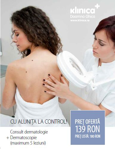 Cu alunita la Control! Consult dermatologie + dermatoscopie (maximum 5 leziuni). Pret oferta: 139 RON/ Pret Lista: 180 RON