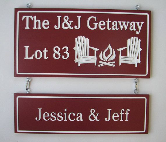 Personalized Carved Painted Wood Cottage Camp with Address