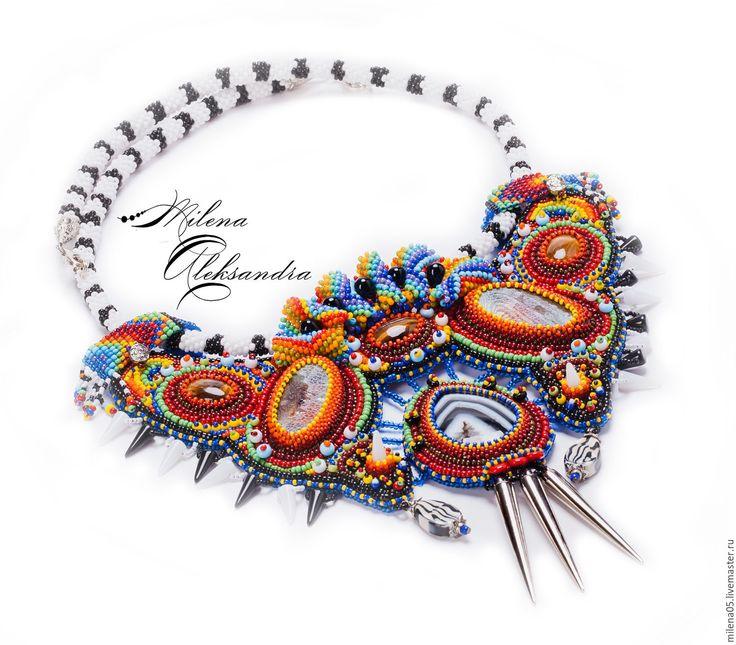 """Купить Этническое украшение """"Долина Серенгети""""+браслет в комплекте - африка, зебра, этно, стиль, мода, подарок"""