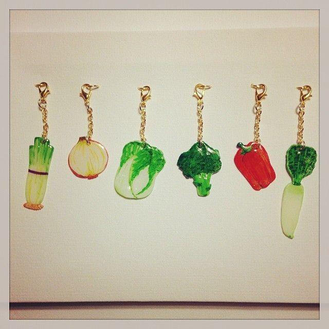野菜プラバンチャーム #Vegetable #shrinkplastic #charms #プラバン #プラ板 #shrinkydinks