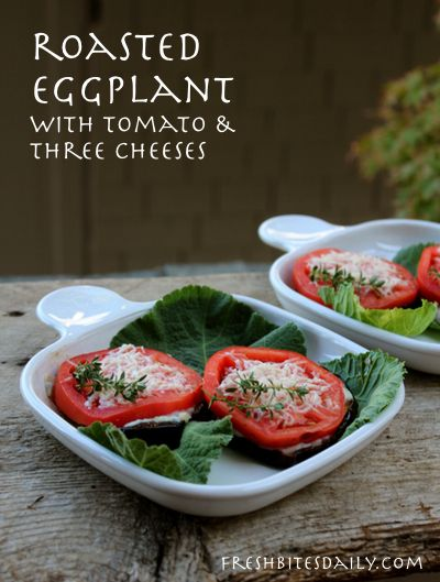 Roasted eggplant rounds with Italian cheeses, inspired by leftover lasagna ingredients