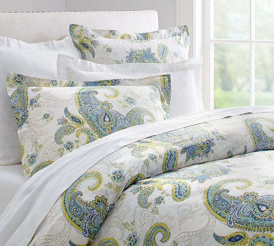 annie paisley organic duvet cover u0026 sham pottery barn blue and gold in the