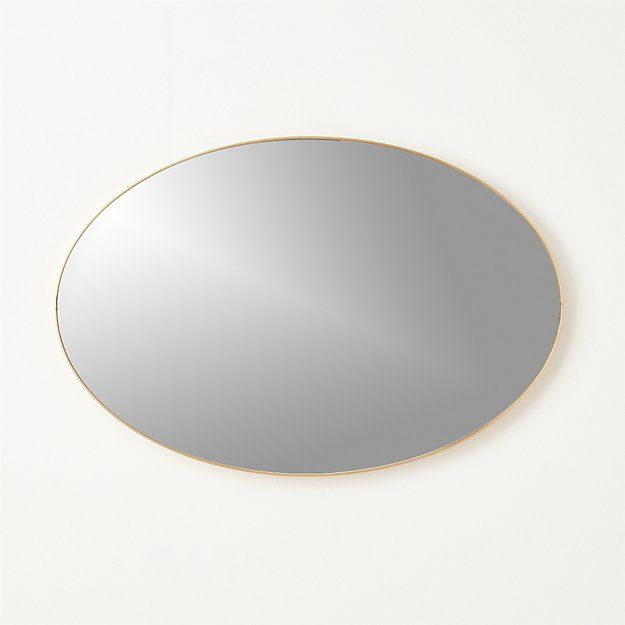 """Shop Infinity Brass Oval Wall Mirror 24""""x36"""".   Looking glass framed thin, trim and exact in pure extruded aluminum with brushed brass finish.  Handmade frame resists corrosion so it's perfect in the bath."""
