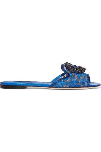 Dolce & Gabbana - Embellished Corded Lace And Lizard-effect Leather Slides - Cobalt blue - IT35