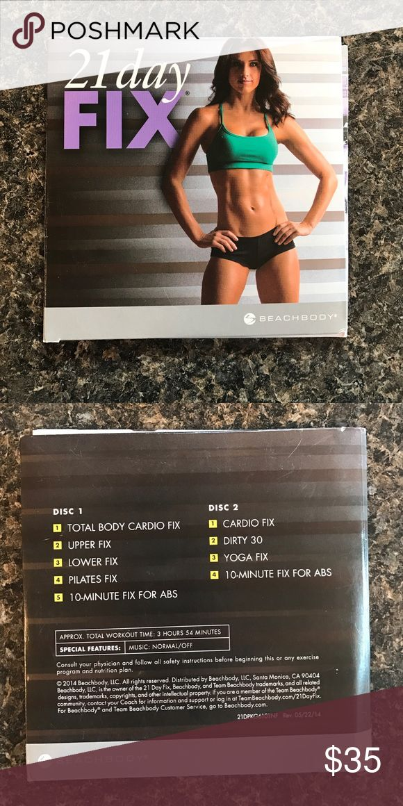 21 Day fix DVD set 21 day fix DVD set, includes 2 dvds with cardio fix, yoga fix, dirty 30, and more! Other
