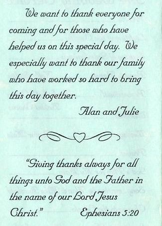 wedding thank you note wording funny wedding program wording