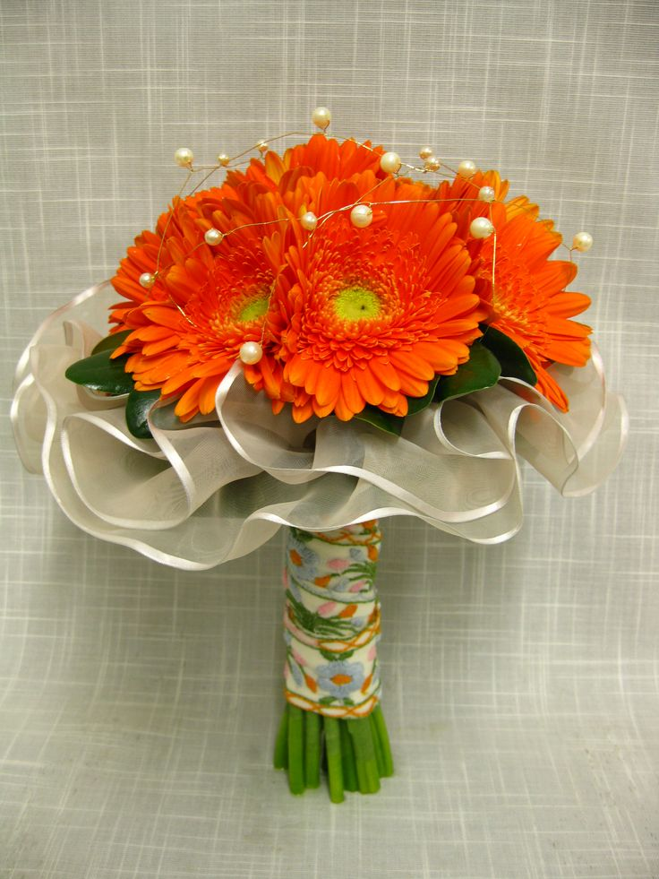 Orange Daisy Bridal Bouquet Best Images About Bouquets With Collars On