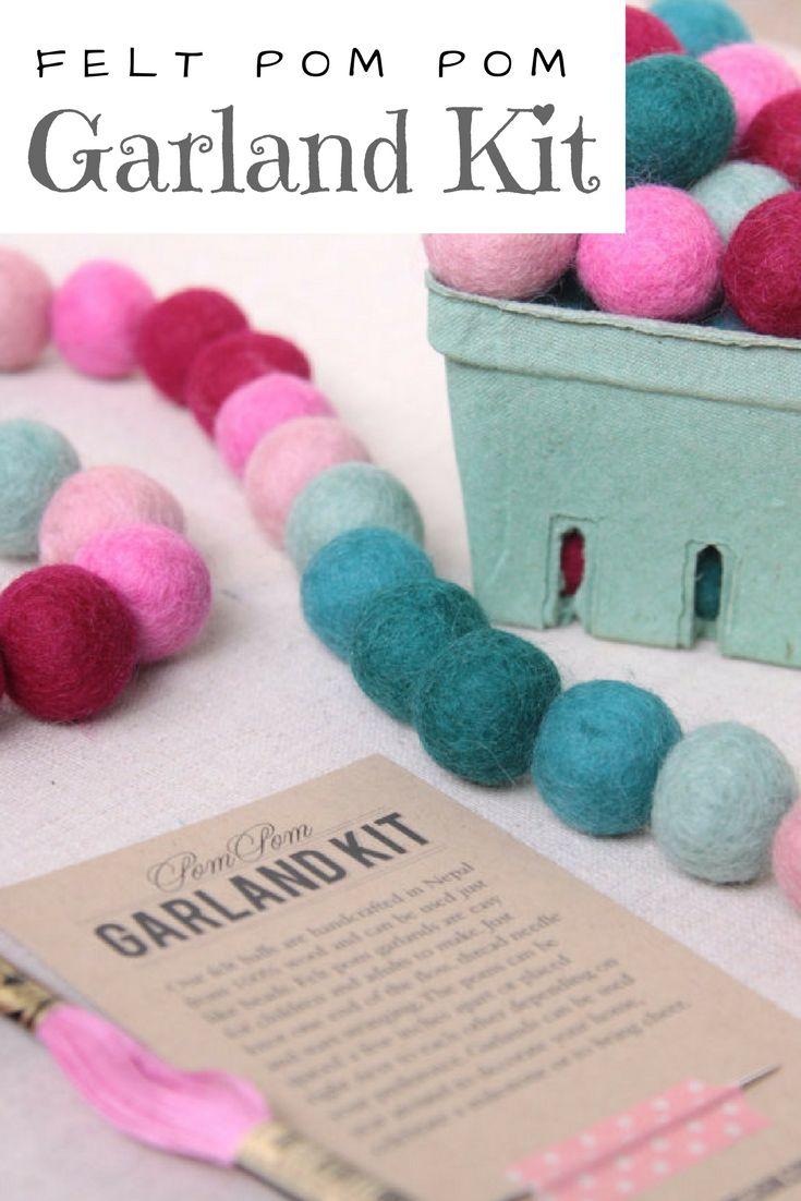 Felt Pom Pom Garland Kit #nursery #party #pompom #diy | ad