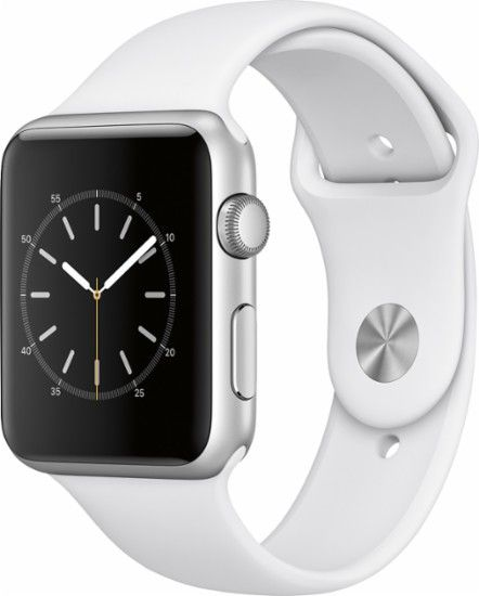 Apple - Apple Watch Series 1 42mm Silver Aluminum Case White Sport Band - Silver Aluminum - Front Zoom