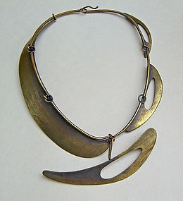 Necklace |  Art Smith, ca 1955.  Patina brass: Love, love, love Art Smith!