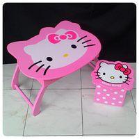 Meja Belajar anak hello kitty dan toybox pink