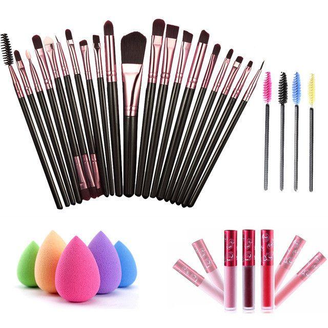 20pcs Eye Makeup Brushes +1 Puff +4 Mascara Brush +1 Waterproof Lip Gloss Brush kits Makeup Tools Sets