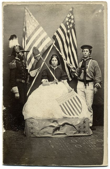 This trio may have participated in one of the popular Sanitary Fairs to support the war effort, or perhaps a July Fourth celebration or other patriotic event. The photograph was taken by C.M. Pierce of Leominster, Mass.