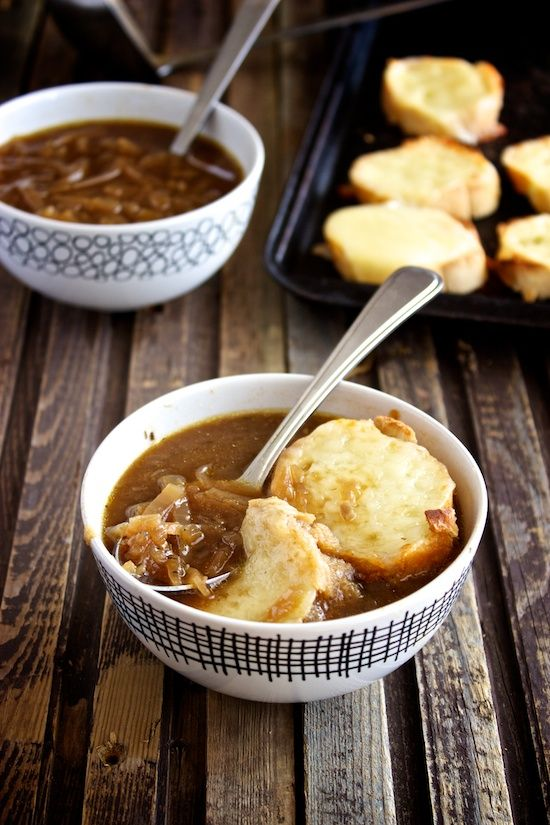 Slow Cooker French Onion Soup by kitchensimplicity #Soup #Onion #Slow_Cooker