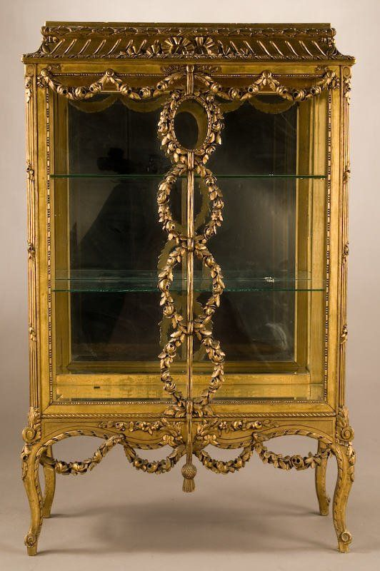 37: French carved, gilt vitrine with applied floral : Lot 37