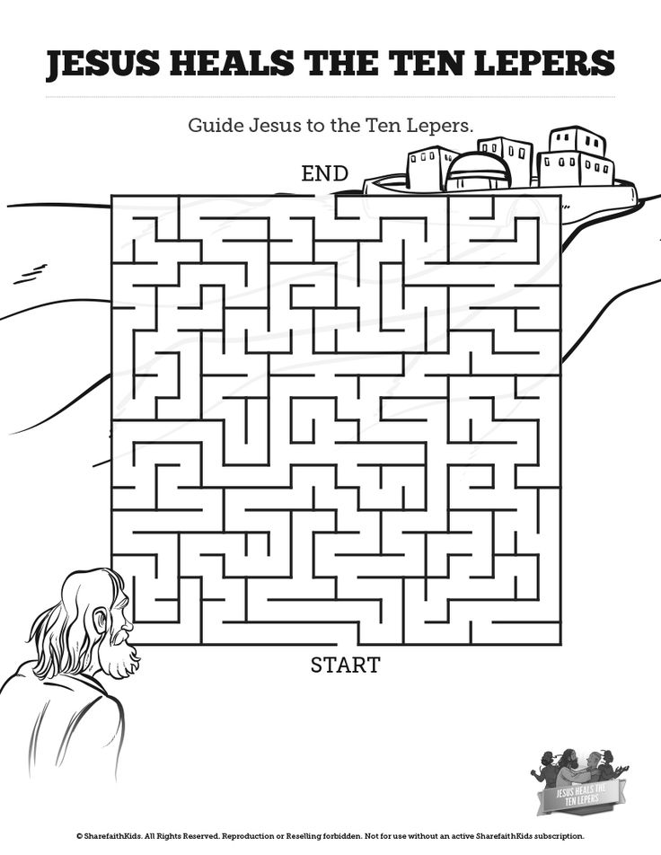 Luke 17 ten lepers bible mazes can your kids lead the ten for Jesus heals ten lepers coloring page