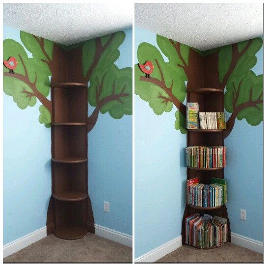 Tree Bookshelf… This is simple enough.. then could add fake leaves flowers fairy lights etc…