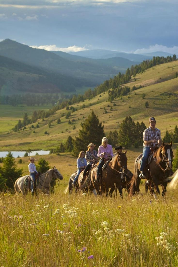 Glamping (v) - Glamorous Camping. Horseback riding by day, glamping by night in Montana.
