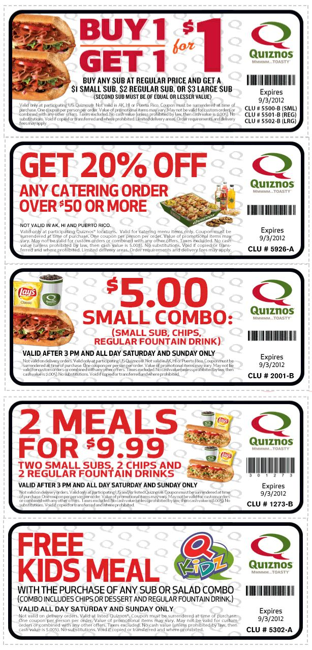 5 combo, free kids meal and more at Quiznos coupon via