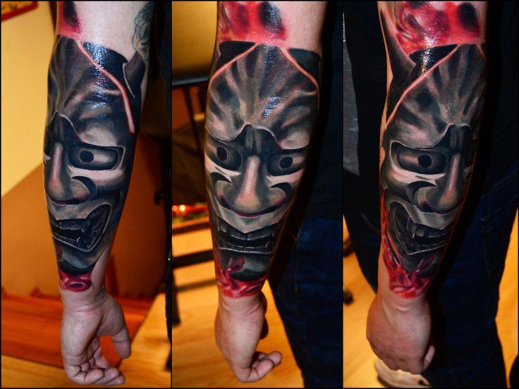 #hannyamask #mask #masktattoo #colour #colourtattoo #realistictattoo #realism #budapesttattoo #bp #renegadetattooclassic #renegade #inprogress #tattoo #ink