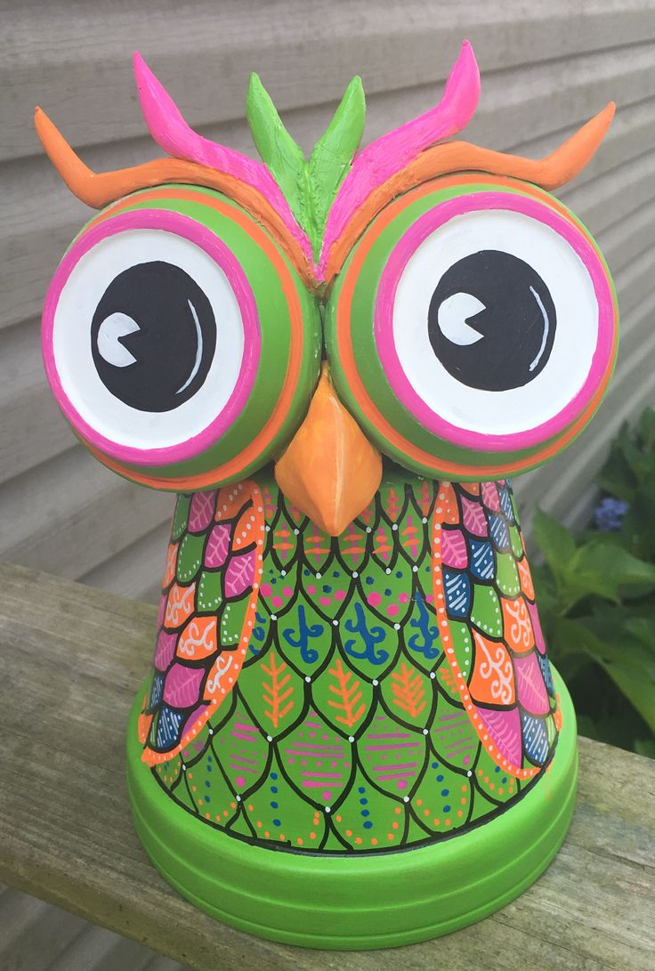 Clay pot terra cotta owl