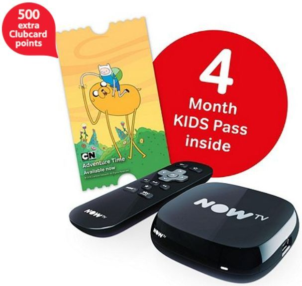 500 extra Clubcard points and a 4 months Kids Pass with £23 NOW TV box How did I miss this offer two weeks ago when I wrote about the '500 extra Clubcard points with NOW TV boxes' offer?  As well as getting 500 extra Cl...