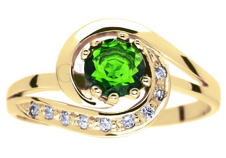 Złoty pierścionek zaręczynowy w stylu retro z szmaragdowozielonym diopsydem i brylantami 0,09 ct - GRAWER W PREZENCIE