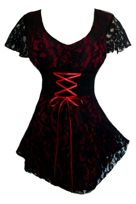Plus Size Red and Black Lace Sweetheart Corset Top [SC09R] - $41.99 : Mystic Crypt, the most unique, hard to find items at ghoulishly great prices!