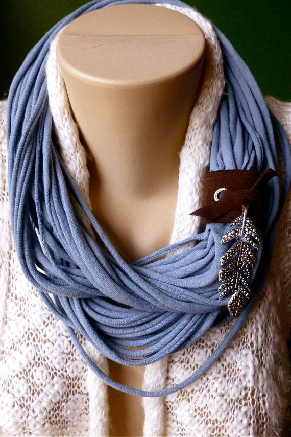 Upcycled t shirt scarf infinity necklace slate blue w for Wrap style t shirts