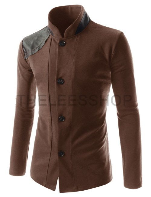 (GD170-BROWN) Mens Slim Fit Leather Patched Long Sleeve 4 Button cardigans