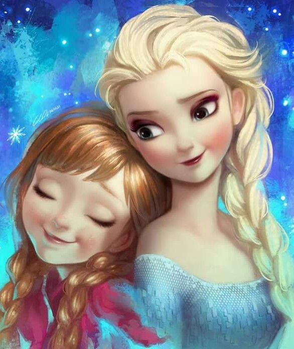 Disney Princess Heroines Ilustration Fanart Frozen Elsa Anna Stitch Cartoon Cross Paintings Fairy Cartoon