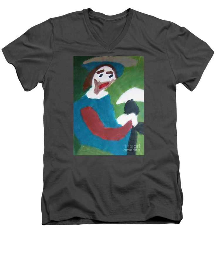 Patrick V-Neck T-Shirt featuring the painting Man With A Feathered Hat 2014 by Patrick Francis