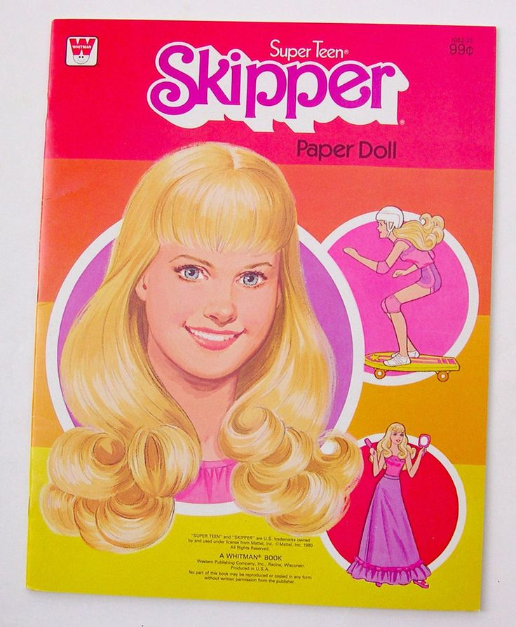 1980 Vintage Whitman Barbie SKIPPER SUPER TEEN paper dolls 1980 uncut/NEW/Skateboard