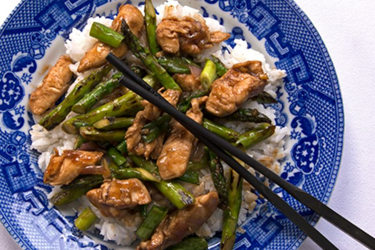 Velveting the chicken before stir-frying it, a simple Chinese cooking technique, keeps the meat moist and tender in Stir-fried Chicken with Asparagus.
