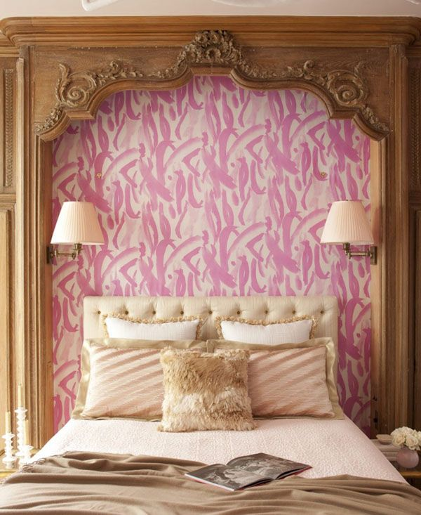· A pink beige and gold bedroom