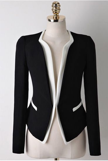 Casual Style Contrast Color Splicing Long Sleeve Blazer For Women (BLACK,L) China Wholesale - Sammydress.com